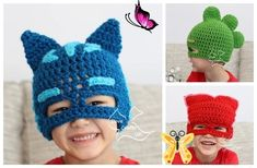 PJ Mask Hat Free Crochet Patterns - DIY Magazine Crochet these PJ Mask Hat for those PJ Mask fans! Who said they are only for boys? My girls always sing PJ mask when we go to the park, kind of addicted to it, and just caught up with the PJ Masks craze. Change the color and they can fit them well! Crochet hatsare fabulous addition to your outfits with extra warmth and style for Winter, I have quite a bunch of them on our site. These fillet beanies are ideal for Autumn and Spring wear. Make… Crochet Gifts, Free Crochet, Crochet Baby, Girl Crochet Hat, Crochet Dolls, Slouch Hat Crochet Pattern, Crochet Patterns, Doll Patterns, Crochet Hats For Boys