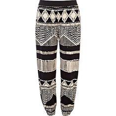 Black and white aztec print jogger pants - cropped pants / joggers - pants - women
