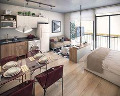 Hervorragend Kleine Wohnung Einrichten   Neutrale Farben Und Akzente In Burgund