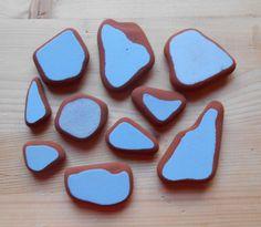 Genuine Sea pottery , beach pottery, blue mix, blue beach pottery shards 10 pezzi solid color, lotto176 di lepropostedimari su Etsy