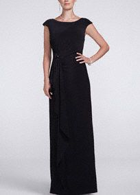 Cap Sleeve Long Jersey Dress with Sequin Side