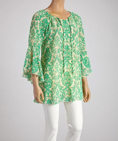 Loving this Green Floral Tunic on #zulily! #zulilyfinds