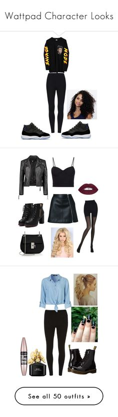 """""""Wattpad Character Looks"""" by queenprincessliarra ❤ liked on Polyvore featuring Guild Prime, Wolford, Alexander Wang, Boohoo, Chloé, Dorothy Perkins, Dr. Martens, Maybelline, Marc Jacobs and M.i.h Jeans"""