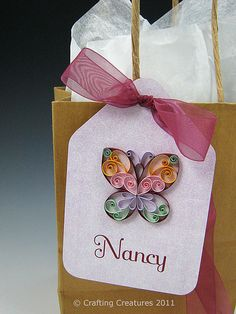 Quilled Butterfly Gift Tag by Crafting Creatures, via Flickr