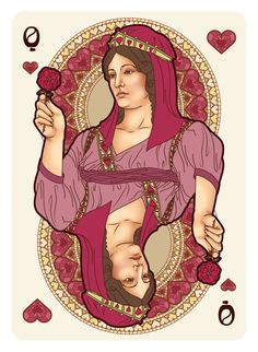 Nouveau BOURGOGNE Playing Cards Queen of Hearts - playing cards art, game, playing cards collection, playing cards project, cards collectors, design, illustration, card game, game, cards, cardist, cardistry