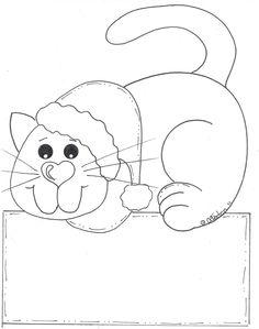 Risco, gato, natal, artesanato, pintura em tecido, modelo.