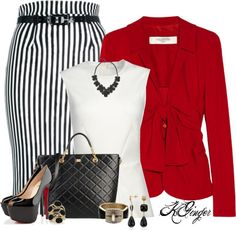 """""""Striped Pencil Skirt Contest"""" by kginger on Polyvore"""