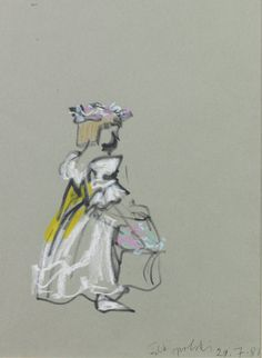 Utterly enchanting: a mixed media sketch of a bridesmaid at the royal wedding of Prince Charles and Diana Spencer in 1981, by Feliks Topolski.  With new exhibitors Panter & Hall, who bring a series of royal wedding sketches by the same artist.