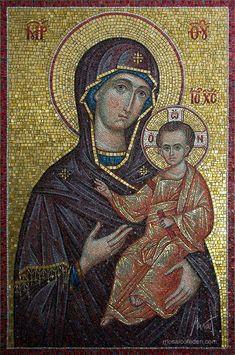 Theotokos with Christ mosaic Icon Byzantine Icons, Byzantine Art, Byzantine Mosaics, Religious Icons, Religious Art, Mosaic Portrait, Mosaic Pictures, Sketch Painting, Orthodox Icons
