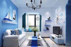 ruang tamu sempit warna biru minimalis