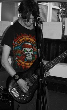 James (bassist) during practice.