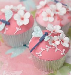 Pink Dragonfly Cupcakes