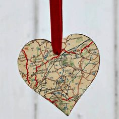 Make special gorgeous ornaments for your tree using maps. Not only do they look fantastic, but they can be made extra special by using maps personal to you.