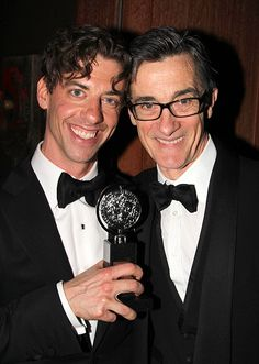 Photo of Christian Borle celebrates his Tony win with Peter and the Starcatcher co-director Roger Rees. Roger Rees, Christian Borle, Peter And The Starcatcher, Lord John, Jesus Christ Superstar, Legally Blonde, Monty Python, Red Carpet Event, Straight Guys