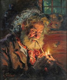 GIOVANNI MADONINI (1915-1989) OLD MAN WITH A PIPE. Lot 151-6262 #oil #painting