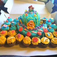 Ariel birthday cake and cupcakes