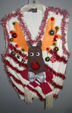 Custom 3D Reindeer Tacky Ugly Christmas by tackyuglychristmas, $75.00  Great Christmas theme sweater.  Think I will do that next Christmas.
