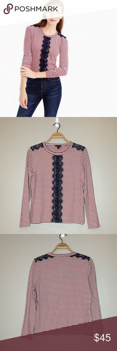 """J Crew Long-Sleeve Striped T-Shirt with Lace - M New with tags J Crew Long-Sleeve Striped T-Shirt with Lace in size medium. Red and white striped top with navy blue lace.  Armpit to armpit: 19.5"""" Length: 23.5"""" Materials: 80% cotton, 20% linen J. Crew Tops Tees - Long Sleeve"""