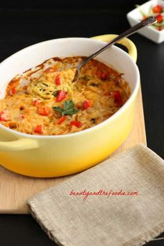 Buffalo Chicken Zucchini Noodle Bake. Grain free, gluten free and low carb. A creamy comfort food casserole.