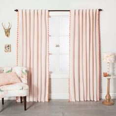 "Velvet Curtain Panel with Orange Tassels Blush Pink 84"" - Opalhouse™ : Target"