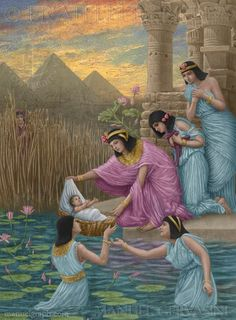 Moses saved from the water - art by Manuel Gervasini - Exodus chapter 2.