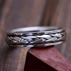 Men's Sterling Silver Braided Ring #men'sjewelry #SterlingSilverOutfit