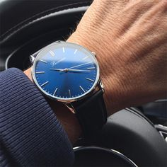 Classic Blue on the wrist, thanks to @grace_for_men. Free shipping worldwide - www.bonvier.com #bonvier #watches #orologi