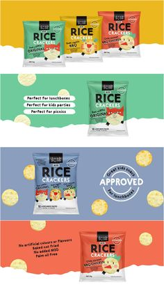 Packages Snackfood Packaging Design Featuring Animated Characters is part of Branding design, Food p Rice Packaging, Food Packaging Design, Packaging Design Inspiration, Packging Design, Rice Snacks, Bakery Branding, Graphic Design Branding, Bottle Design, Confectionery
