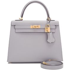 Hermes Gris Mouette Epsom Sellier Kelly 25cm Gold Hardware (£15,460) ❤ liked on Polyvore featuring bags, handbags, leather purses, genuine leather handbags, genuine leather purse, real leather handbags and leather bags