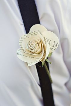 book page rose for @Josie Brandt i think these would make great boutonnieres. :)