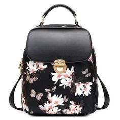 Fresh Girl Butterfly Flower School Bag Casual Backpack-Black - lilyby