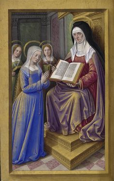 "Manuscript illuminator Jean Bourdichon (1457-59-1521), 1503-08, Grandes Heures d'Anne de Bretagne, France. ""St Anne teaching Mary to read"""