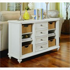 Charmant American Drew Camden White Console Table With Baskets