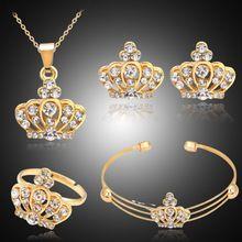 Charm Crow náhrdelník s přívěskem pro ženy Svatební šperky Set Cz křišťálové náušnice Rings náramek 4ks svatební soupravy Příslušenství (Čína (pevninská část))