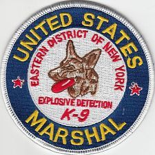 US MARSHAL EXPLOSIVE DETECTION K-9 EASTERN DISTRICT NEW YORK POLICE PATCH NY