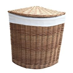 August Grove Full white wash finish willow - white faux leather - removable cotton lining Colour: Light Steamed, Size: Small H x W x D) Laundry Bin, Laundry Sorter, Laundry Hamper, Corner Laundry Basket, Standard Textile, Cleaning Wipes, Wicker, Artisan, Colour Light