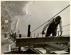 Construction worker on the Golden Gate Bridge - San Francisco History Center, San Francisco Public Library
