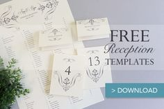 Printable wedding place cards, seating chart and table numbers