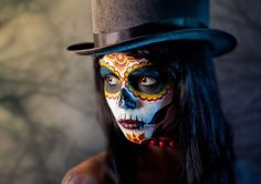 XXL Wandbild Poster Kunstdruck - Sugar Skull - Mädchen - Kunst - Tattoo -