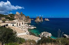 Scopello, Sicily- so pretty in the daylight too :) Vacation Destinations, Dream Vacations, Regions Of Italy, Southern Italy, Mediterranean Sea, Europe, Island, World, Water