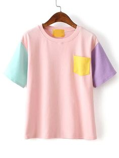 Shop Color-block Pocket T-shirt online. SheIn offers Color-block Pocket T-shirt - Emilia Fall Fashion Outfits, Stylish Outfits, Kids Outfits, Kids Fashion, Cool Outfits, Ropa Color Pastel, Patron T Shirt, Stylish Toddler Girl, Jugend Mode Outfits