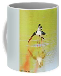 Black Neck Stilts Just After Mating Coffee Mug featuring the digital art Black Neck Stilts Just After Mateing by Tom Janca
