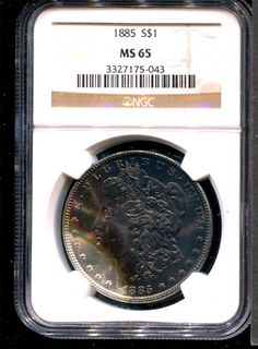 1885 NGC MS65 $440 - This is one of my favorite coins. I love the nearly black surface with the luster still giving the famous cartwheel look.