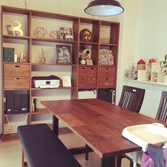 mikannaさんの、イングリッシーナ,アイアンテーブル,ウォールナット家具,マスターウォール,シェルフ,無印良品,スタッキングシェルフ,棚,のお部屋写真