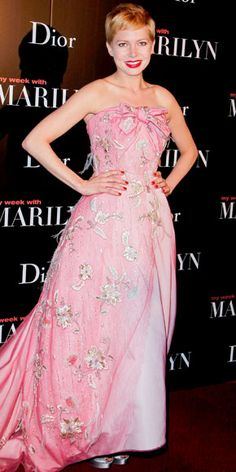 "Michelle Williams in Christian Dior Spring 2011 Couture at the Paris premiere of ""My Week with Marilyn"", February 2012"