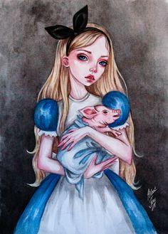Alice and the pig by BlackFurya on DeviantArt
