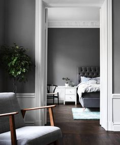 Grey walls and interior, livingroom and bed. Scandinavian decoration and ideas.