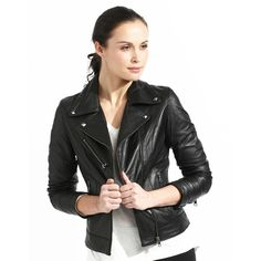 Women's Slim Fit Black Full-grain Leather Biker Jacket | Overstock.com Shopping - Top Rated Jackets