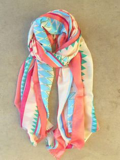 Yellow coral and aqua scarf