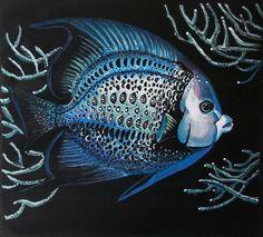 Pesce Angelo tempera su carta  preparata con lo di Stellangelo